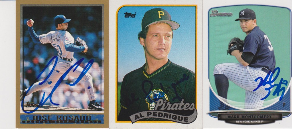 Autographed Cards of Jose Rosado, Al Pedrique, and Mark Montgomery