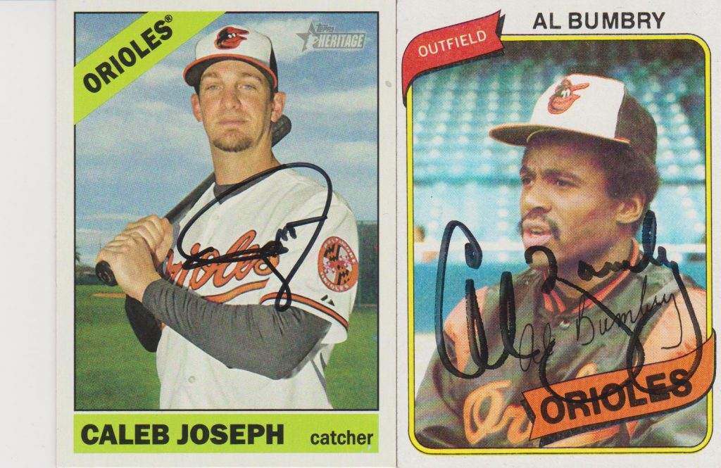 Caleb Joseph and Al Bumbry Autographed Cards